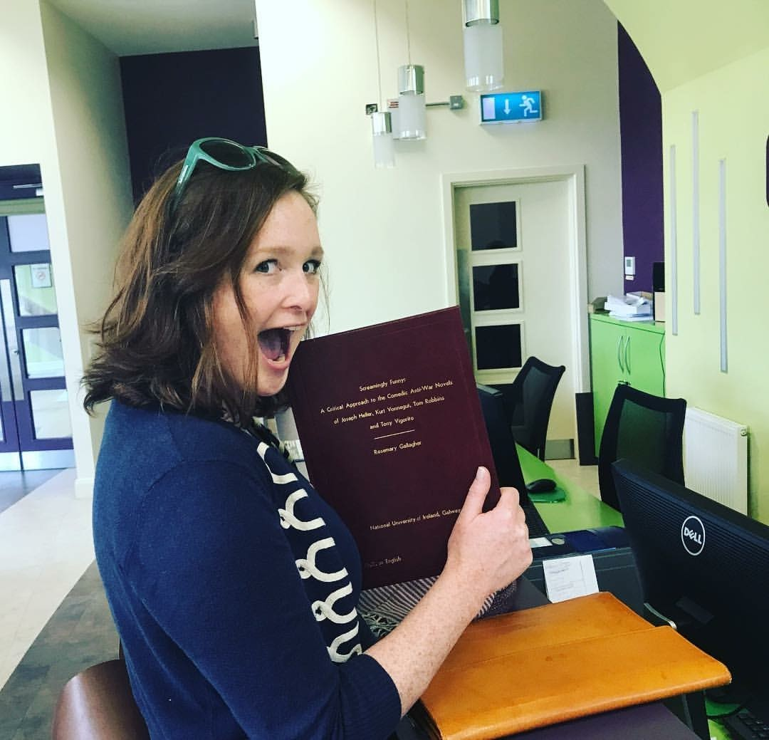 Rosemary Gallagher Submitting her Hardbound thesis to NUIG
